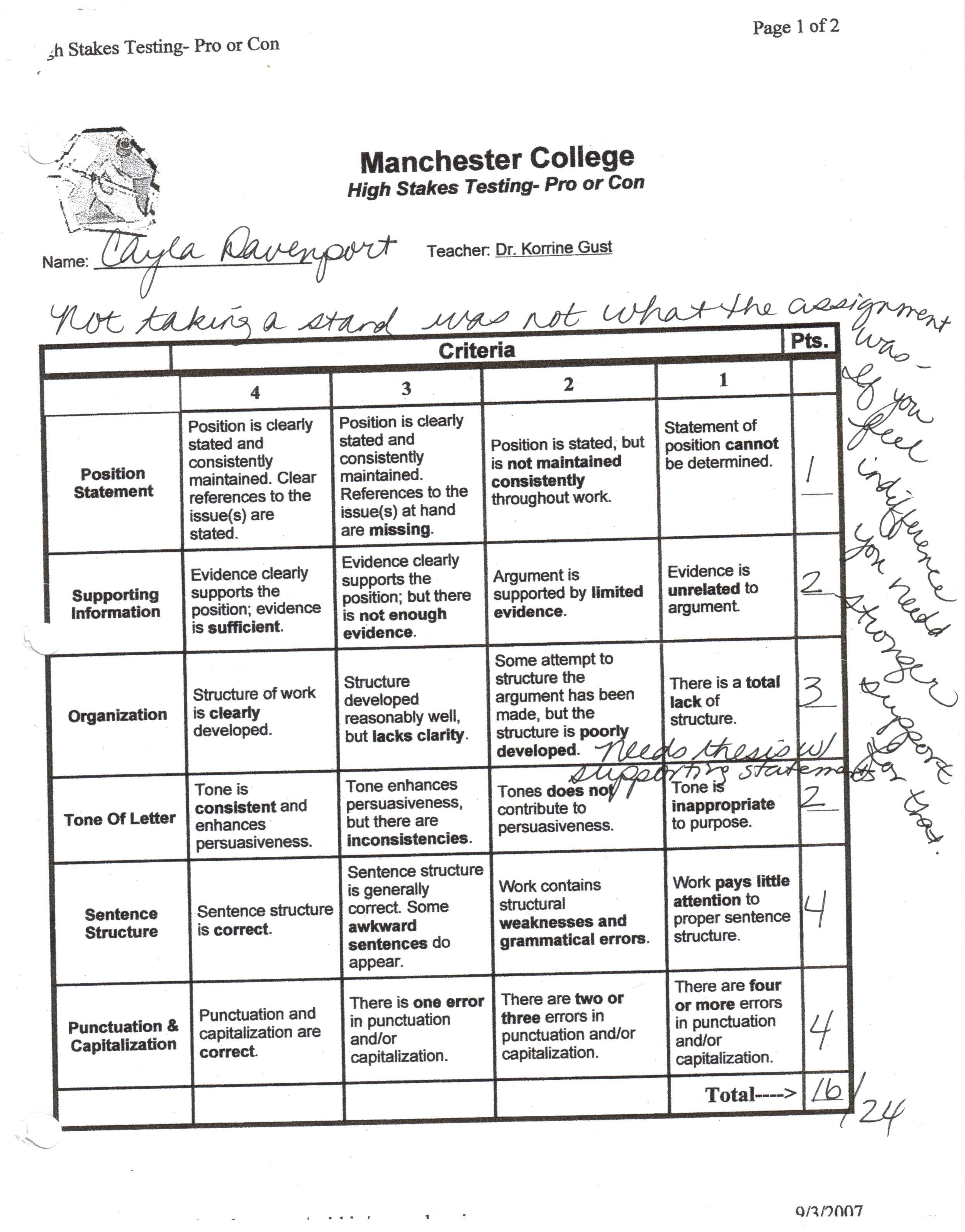 science research paper evaluation rubric